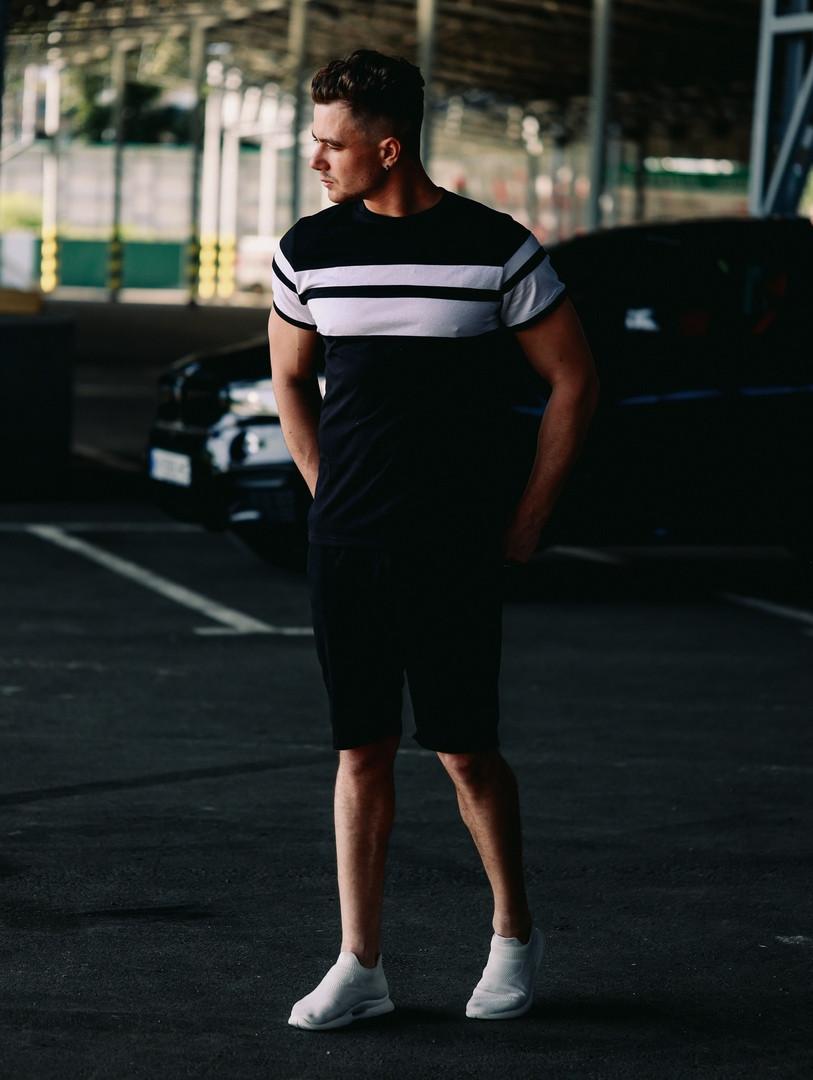 Футболка + шорти. Літній чоловічий комплект. Стильний чоловічий костюм чорного кольору.