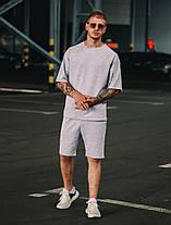 Комплект оверсайз чоловіча футболка + шорти. Стильний чоловічий костюм сірого кольору., фото 3