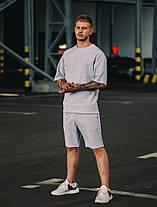 Комплект оверсайз чоловіча футболка + шорти. Стильний чоловічий костюм сірого кольору., фото 2