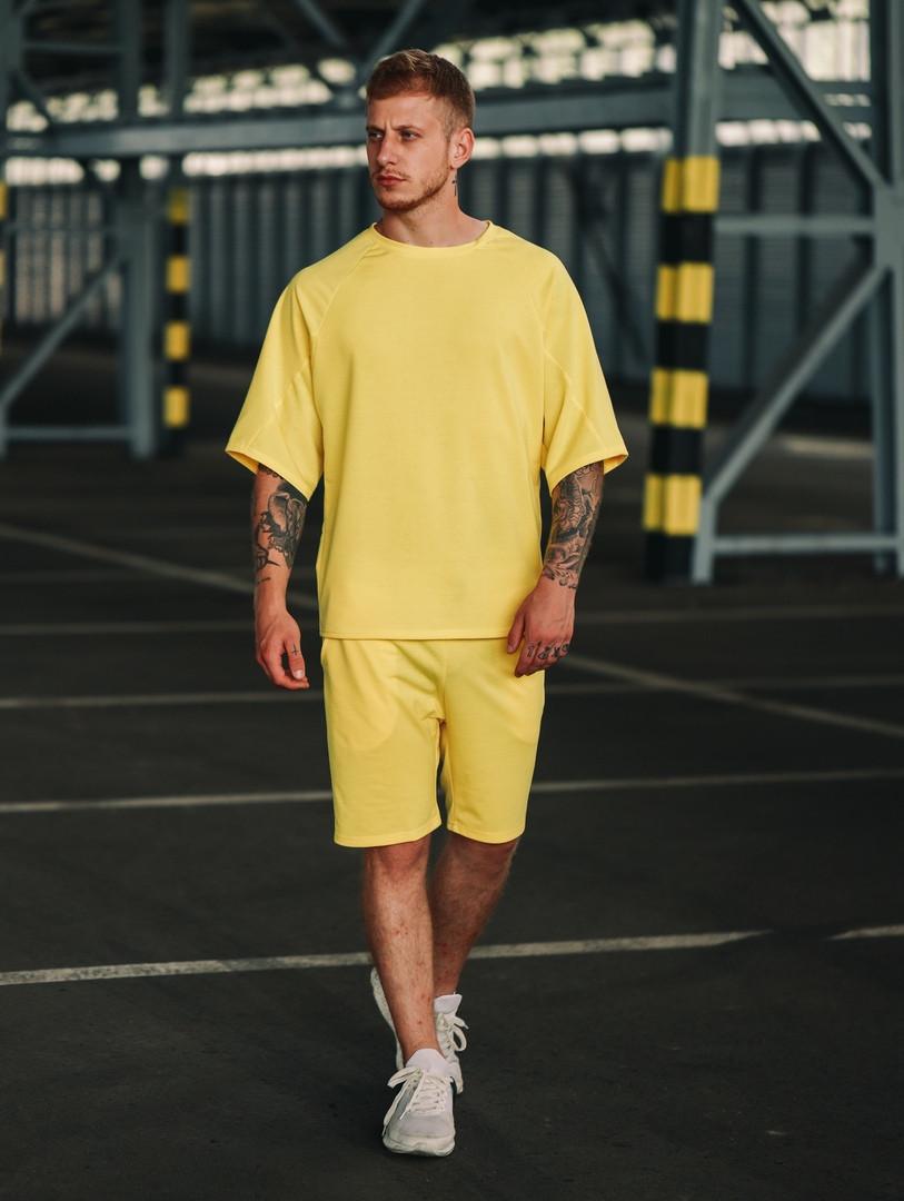 Футболка и шорты комплект мужской желтый