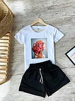 Біла футболка жіноча з принтом + шорти сірого кольору. Жіночий річний комплект., фото 3