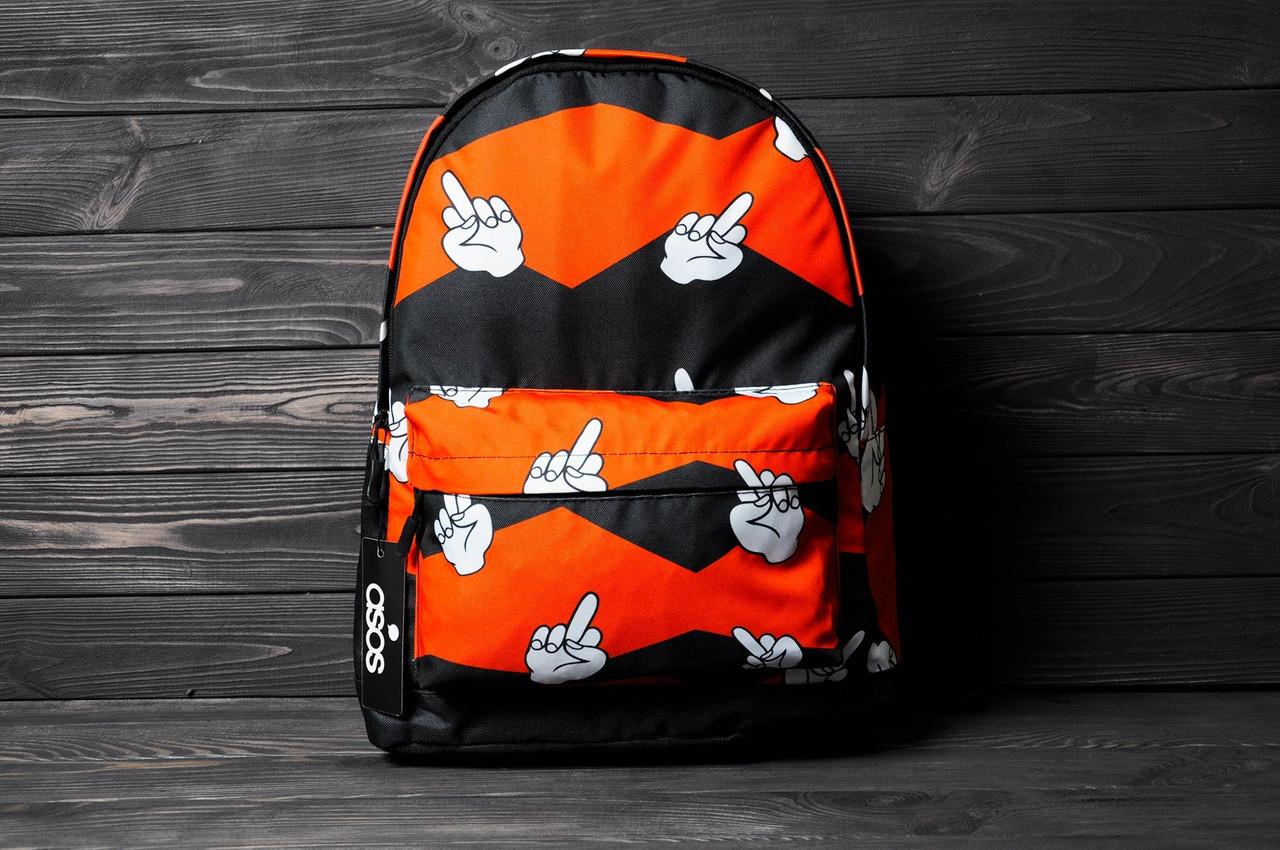 Рюкзак оранжевый с принтом