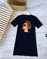 Сукня жіноча літнє. Сукня-футболка. Туніка жіноча біла з принтом., фото 2