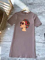 Сукня жіноча літнє. Сукня-футболка. Туніка жіноча біла з принтом., фото 3