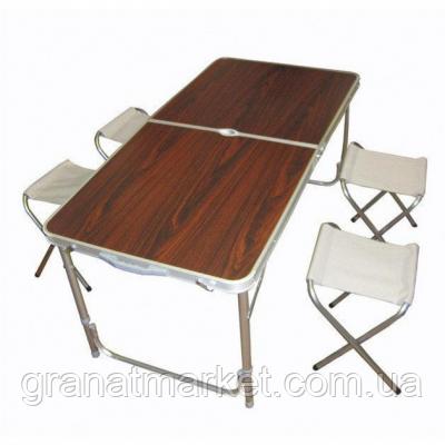 Складаний стіл для пікніка 120 х 60 см 4 стільця, Folding Table, кемпінговий стіл коричневий