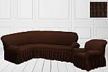 Чехол на угловой диван + 1 кресло натяжной универсальный Жатка Цвет Антрацит  Турция, фото 5