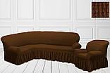 Чехол на угловой диван + 1 кресло натяжной универсальный Жатка Цвет Антрацит  Турция, фото 6