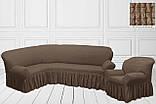 Чехол на угловой диван + кресло натяжной универсальный Жатка Шоколадного цвета Турция, фото 3