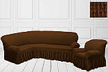 Чехол на угловой диван + кресло натяжной универсальный Жатка Шоколадного цвета Турция, фото 5