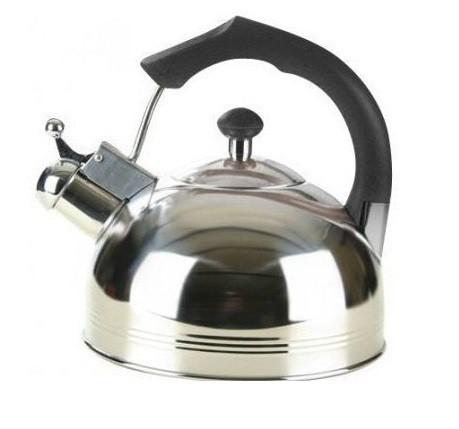 Чайник Maestro чорна ручка 3,5 л нержавійка, Чайник з ручкою нержавійка, Чайник зі свистком з нержавійки