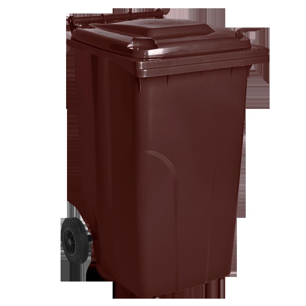 Бак для сміття на колесах з ручкою 240 літрів темно-коричневий