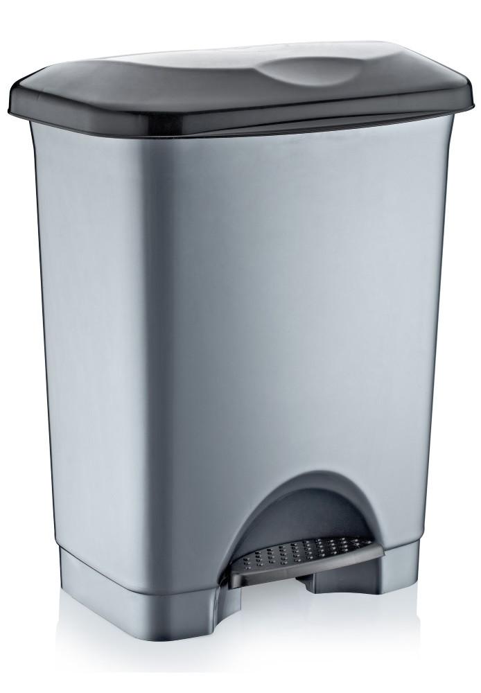 Відро для сміття з педаллю Irak Plastik Stella 45л сірий металік