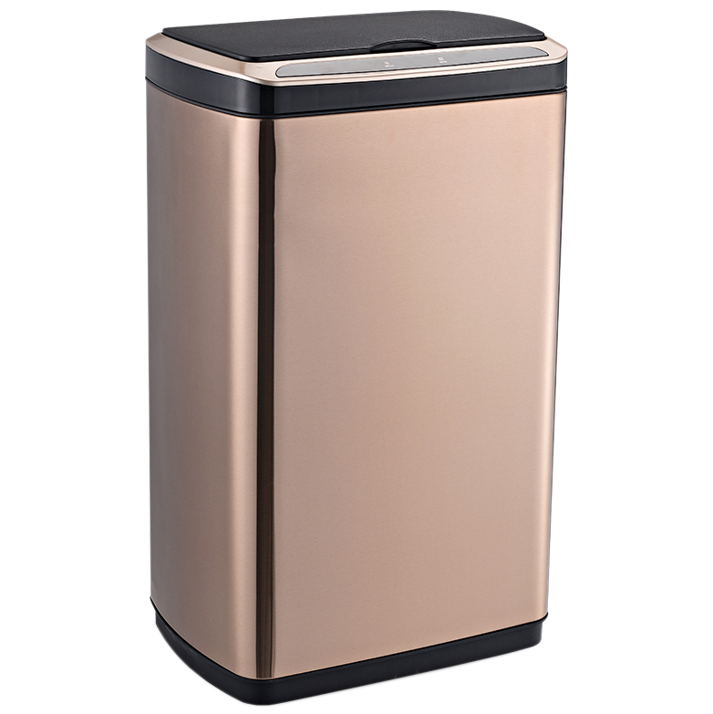Сенсорное мусорное ведро JAH 50 л прямоугольное розовое золото без внутреннего ведра