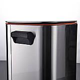 Відро для сміття з педаллю JAH 15 л срібний металік без внутрішнього відра, фото 7