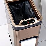 Сенсорное мусорное ведро JAH 7 л прямоугольное серебряный металлик с внутренним ведром, фото 6