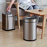 Відро для сміття JAH 25 л круглий срібний металік без кришки і внутрішнього відра, фото 6