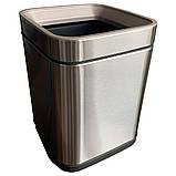 Ведро для мусора JAH 15 л серебряный металлик без крышки с внутренним ведром, фото 2