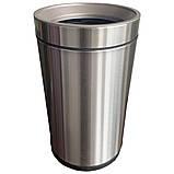 Ведро для мусора JAH 15 л круглое серебряный металлик без крышки с внутренним ведром, фото 2