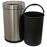 Ведро для мусора JAH 15 л круглое серебряный металлик без крышки с внутренним ведром, фото 3
