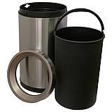 Ведро для мусора JAH 15 л круглое серебряный металлик без крышки с внутренним ведром, фото 4