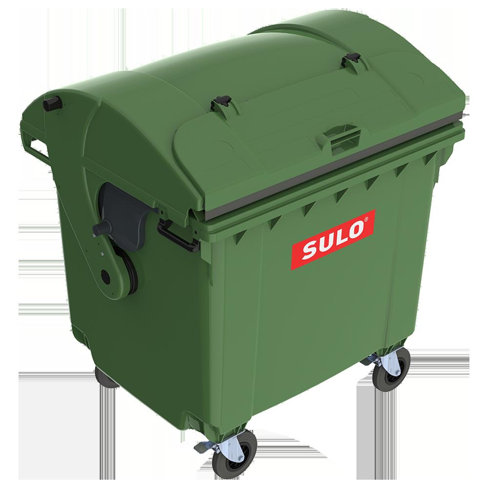 Контейнер мусорный ТБО Sulo 1100 л с куполообразной крышкой (модель крышка в крышке) зеленый