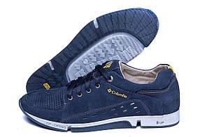 Мужские кожаные летние кроссовки, перфорация Columbia Blue (реплика)