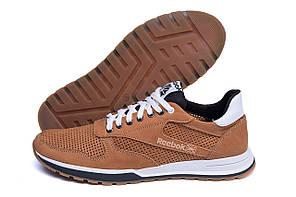 Мужские кожаные летние кроссовки, перфорация Reebok Classic Brown (реплика)