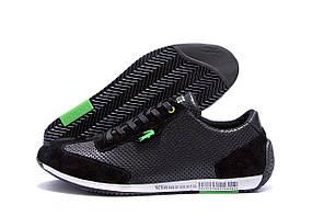 Мужские кожаные летние кроссовки, перфорация Lacoste Lerond black (реплика)