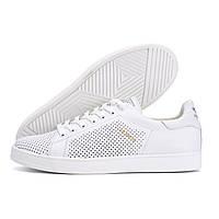 Мужские кожаные летние кроссовки, перфорация Adidas Stan Smith White RUNNING (реплика)