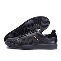 Мужские кожаные летние кроссовки, перфорация Adidas Stan Smith Black RUNNING (реплика)