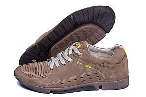 Мужские кожаные летние кроссовки, перфорация Columbia Beige (реплика)