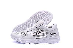 Мужские кожаные летние кроссовки, перфорация Reebok Classic  White (реплика)