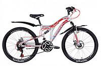 """Горно-подростковый велосипед (двухподвес) Discovery ROCKET AM2  DD 24"""" (серебристо -красный с синим)"""