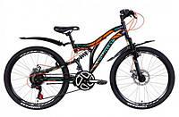 """Горно-подростковый велосипед (двухподвес) Discovery ROCKET AM2  DD 24"""" (черно-оранжевый с берюзовым)"""