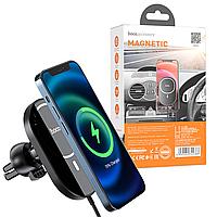 Беспроводная зарядка для iPhone с поддержкой Magsafe hoco. CA90   Автодержатель для iPhone 12