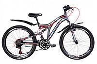 """Горно-подростковый велосипед (двухподвес) Discovery ROCKET AM2  VBR 24"""" (графитово-белый с красным)"""