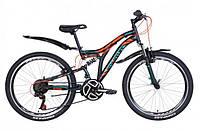 """Горно-подростковый велосипед (двухподвес) Discovery ROCKET AM2  VBR 24"""" (черно-оранжевый с берюзовым)"""
