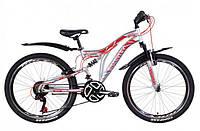 """Горно-подростковый велосипед (двухподвес) Discovery ROCKET AM2  VBR 24"""" (серебристо- красный с синим)"""