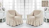 Комплект Чохлів на 2 крісла з спідницею Жатка універсальні натяжні Колір Хакі Туреччина, фото 4