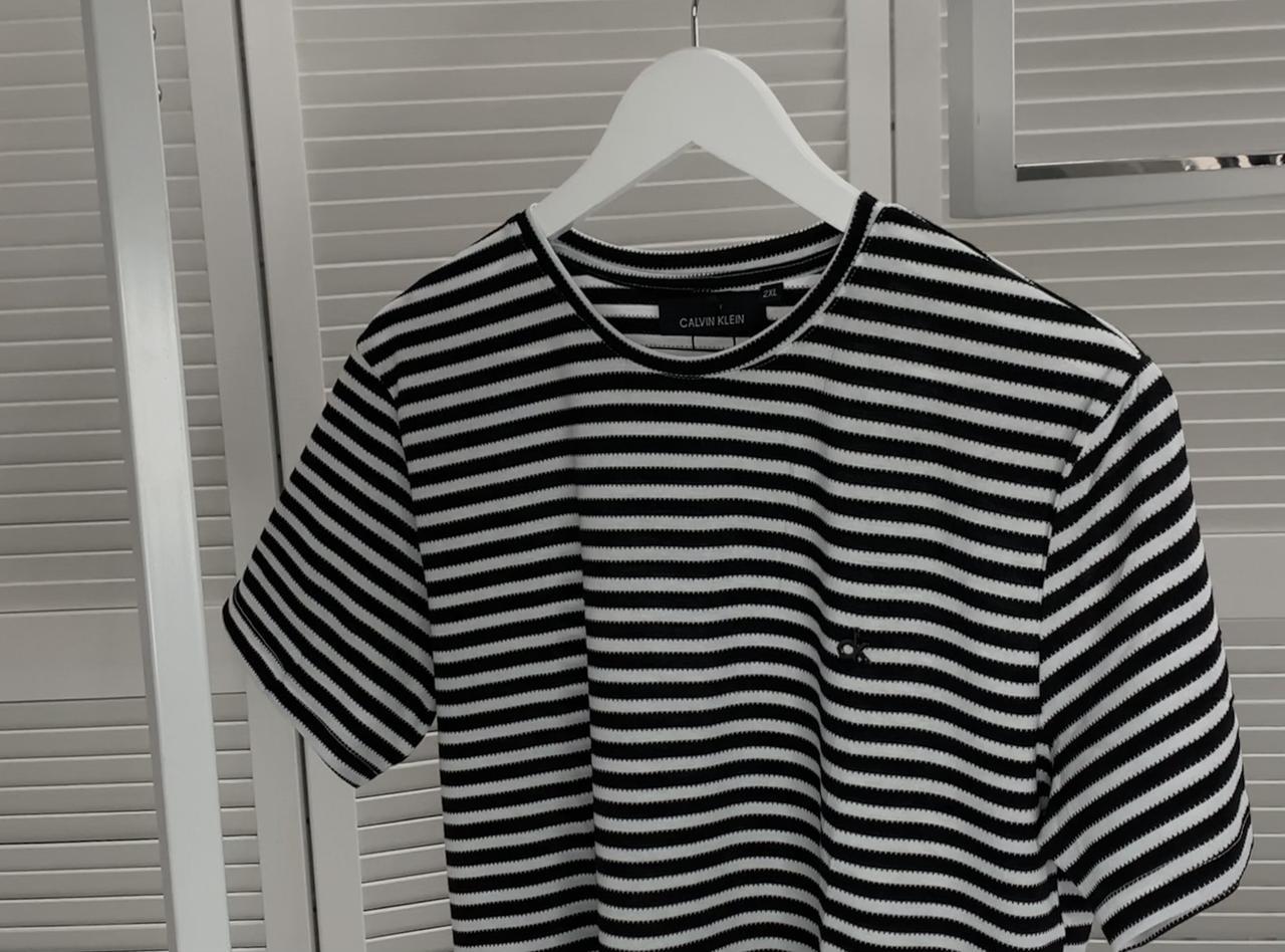 Стильная мужская футболка Calvin Klein Черная, Стильная футболка с узором Люкс качество