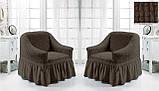 Комплект Чохлів на 2 крісла з спідницею Жатка універсальні натяжні Колір Хакі Туреччина, фото 7