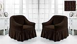 Комплект Чохлів на 2 крісла з спідницею Жатка універсальні натяжні Колір Хакі Туреччина, фото 8