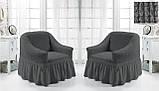 Комплект Чохлів на 2 крісла з спідницею Жатка універсальні натяжні Колір Хакі Туреччина, фото 10