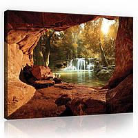 Картина на холсте 100х75 см Лес с водопадом (PP10261O1) Лучшее качество