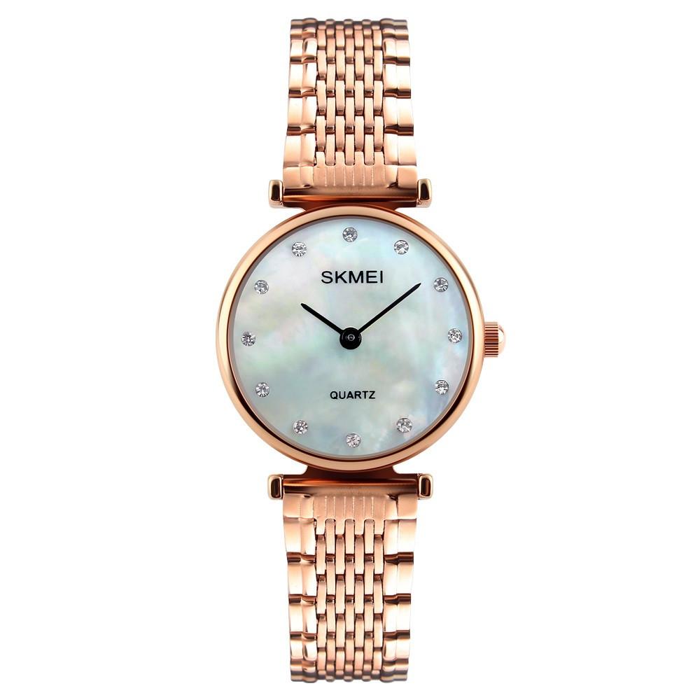 Skmei 1223 женские часы розовое золото с перламутровый циферблатом