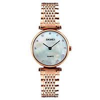 Skmei 1223 женские часы розовое золото с перламутровый циферблатом, фото 1