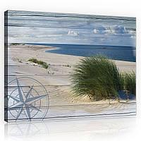 Картина на холсте 60х40 см Пляж на досках (PP10025O4) Лучшее качество
