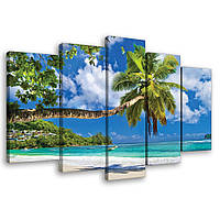 Модульная картина на холсте 2x20x40 см, 2x20x50 см, 1x20x60 см Пальмы, пляж и океан (PS10332S17) Лучшее