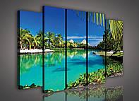 Модульная картина на холсте 3x30x100 см, 2x30x80 см Домики у океана на Гавайях (PS221S12) Лучшее качество