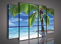 Модульная картина на холсте 3x30x100 см, 2x30x80 см Морской пляж с пальмой (PS1081S12) Лучшее качество